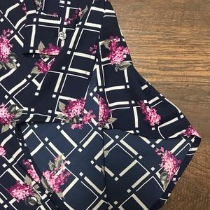 Charter Club Tops - Charter Club Navy & Fushcia Floral Button Blouse